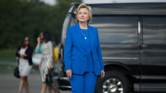 Hillary Clinton is pictured at Westchester County Airport,