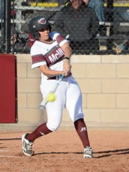 McMurry outfielder Courtney Owen hits a flyball during
