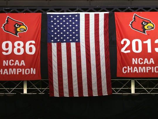 Louisville's 2013 NCAA National Championship banner.