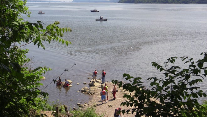 Emergency rescue units from around the county search for a missing man in the Hudson off of Croton Point Park on May 31, 2016.