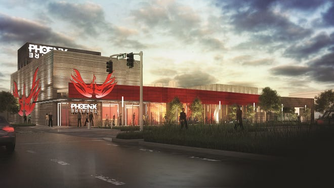 This rendering of the Phoenix Theatre's future home features a new logo designed by Carlos Sosa of the Sosa Group.