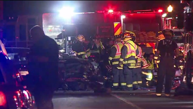 Seven people were taken to the hospital after an accident late Friday night at the intersection of 73rd Street and Spring Mill Road on Indianapolis' north side.