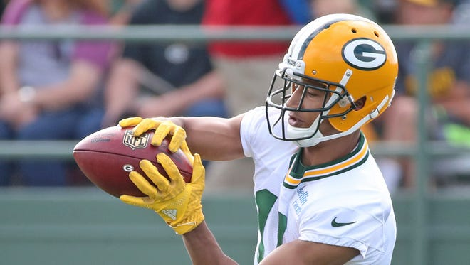 Green Bay Packers wide receiver Trevor Davis (11) during training camp practice Friday, July 28, 2017, at Ray Nitschke Field.