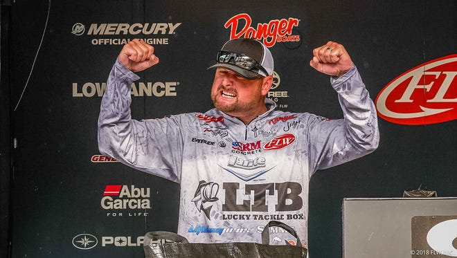 Jason Lambert caught more than 100 pounds of fish in his record-setting performance on Kentucky Lake in the Fishing League Worldwide Tournament.