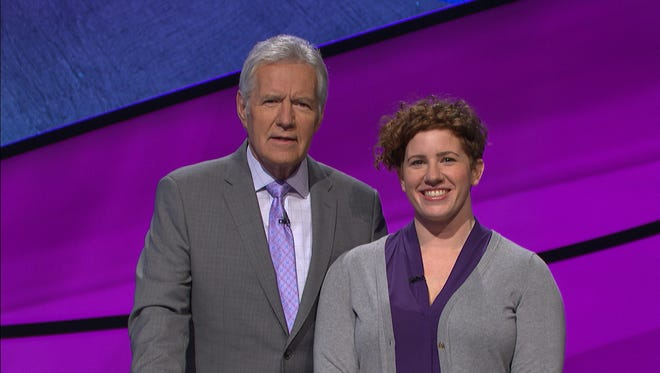 Jeopardy host Alex Trebek with Skyler Kelemen, a 2004 graduate of South Salem High School who will be a contestant on Jeopardy on May 31, 2018.