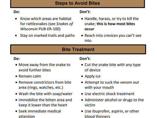 Information on how to avoid and treat rattlesnake bites in Wisconsin can be found at the Wisconsin DNR website at https://dnr.wi.gov/files/pdf/pubs/er/er0083.pdf