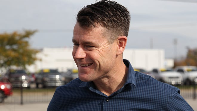 """Todd Young visited the Wabash National Ehrlich Innovation Center on Wednesday, Nov. 2, 2016, for the unveiling of Navistar's """"SuperTruck,"""" a U.S. Dept. of Energy project to improve the fuel efficiency of heavy-duty trucks. Illinois-based Navistar partnered with Wabash to create an aerodynamically enhanced trailer."""