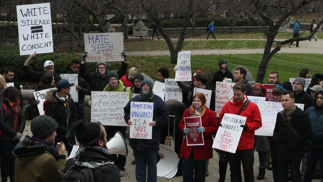 Roughly 100 Purdue University students, faculty and staff gathered outside Hovde Hall Monday to protest flyers found on campus last week that supported white supremacy.