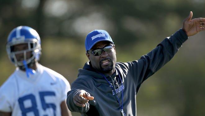 March 22, 2016 -  University of Memphis Assistant Coach, Defensive Backs Marcus Woodson. (Nikki Boertman/The Commercial Appeal)