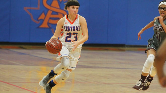 Central High School's Morgan Walker hit three 3-pointers and scored nine points in a 50-39 win against Killeen High at Babe Didrikson Gym on Friday, Jan. 5, 2018.