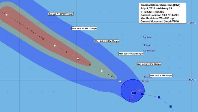 Tropical Storm Chan-hom is on track to pass north of Guam.