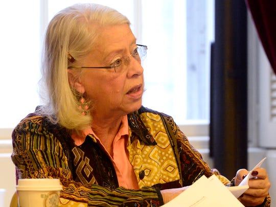 Sen. Peg Flory, R-Rutland, points to the Vermont constitution Wednesday afternoon as she asks about how residents of Franklin County would be represented in the Statehouse if the Senate removed Sen. Norm McAllister from his Senate seat while he awaits criminal trial.