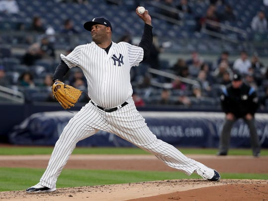 New York Yankees pitcher CC Sabathia delivers against the Minnesota Twins during the second inning of a baseball game Tuesday, April 24, 2018, in New York.