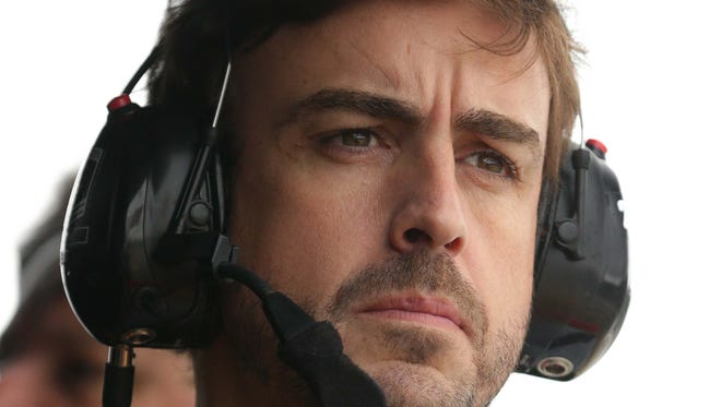 Fernando Alonso looks on during practice for the Honda Indy Grand Prix of Alabama at Barber Motorsports Park.
