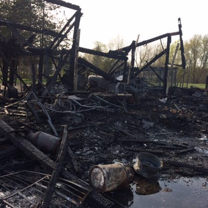 Barn destroyed by fire in Lorain COunty