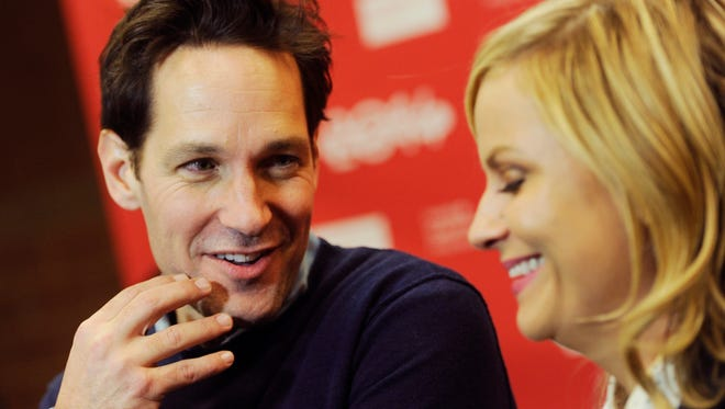 """Paul Rudd and Amy Poehler, cast members in """"They Came Together,"""" mingle at the premiere of the film at the 2014 Sundance Film Festival."""