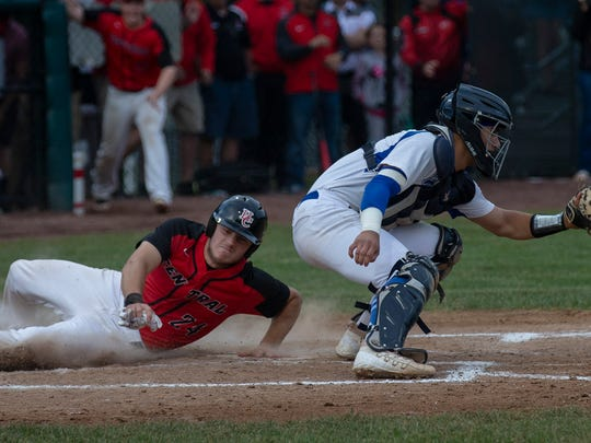 Hunterdon Central's Pete Ciuffreeda slides in safely