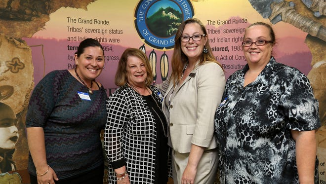 Pictured are Catholic Community Services Foundation Board Members: Chrysalis White, Glenda Anderson and Rhonda Mathis with Spirit Mountain Community Fund Director Kathleen George (center, right).