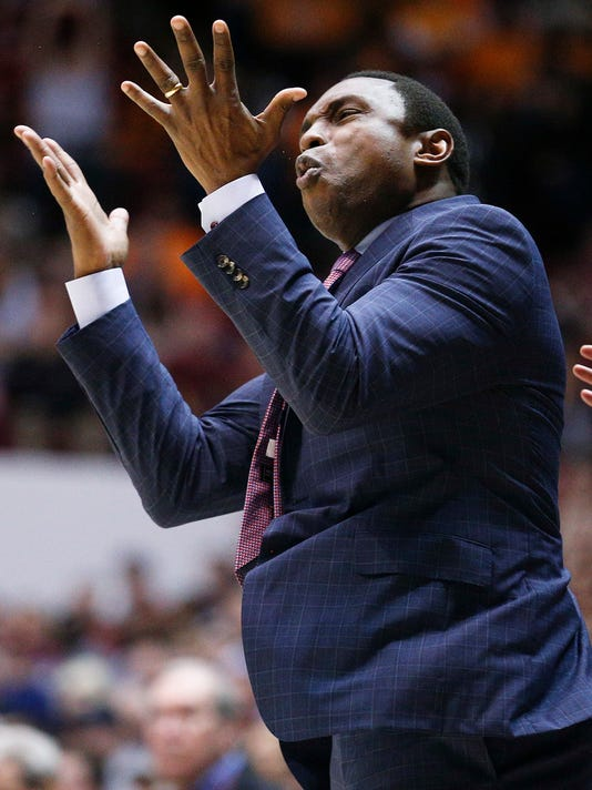 Alabama coach Avery Johnson reacts to a play during the second half of the team's NCAA college basketball game against Tennessee on Saturday, Feb. 10, 2018, in Tuscaloosa, Ala. Alabama won 78-50. (AP Photo/Brynn Anderson)