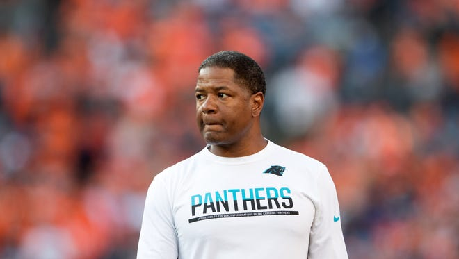 Sep 8, 2016; Denver, CO, USA; Carolina Panthers assistant head coach Steve Wilks against the Denver Broncos at Sports Authority Field at Mile High. The Broncos defeated the Panthers 21-20. Mandatory Credit: Mark J. Rebilas-USA TODAY Sports