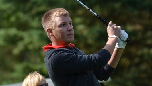St. Cloud State senior Devin Holmes tees off at a meet.