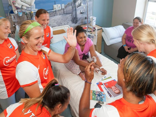 Hospital patients starstruck by soccer players