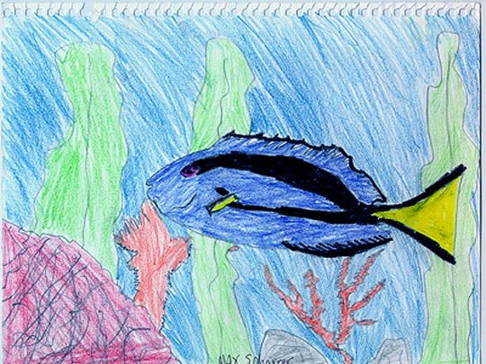 Students at County Line Elementary School in Germantown designed fish to incorporate into the mural painted by artist Bradley J. Parrish at the school in 2004.