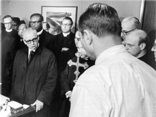 "Rabbi James Wax speaking to Memphis Mayor Henry Loeb in April 1968. Was and the Memphis Ministers Association submitted ""An Appeal to Conscience"" and demanded that Loeb resolve the sanitation workers strike. Their efforts led to the formation of MIFA a few months later."