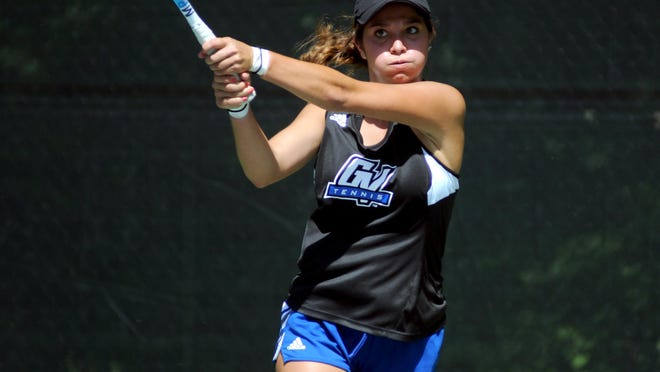 Allie Sweeney returns a ball Sunday, Aug 9, during the final day of the Francis J. Robinson Memorial tennis tournament.