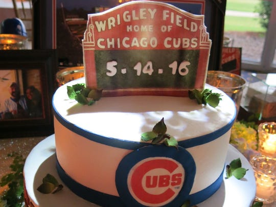 Groom Russell W. Crews is a great Chicago Cubs fan,