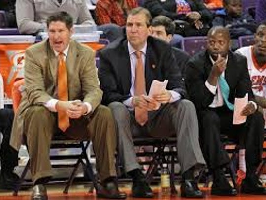 Earl Grant, third from left, served on Brad Brownell's staff at Clemson for four seasons before taking the job at College of Charleston.