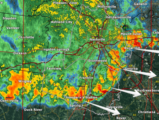 Radar over greater Nashville area.