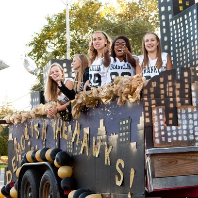 The Freshmen Float greets the crowd during  the Franklin Homecoming Parade on Sept. 20, 2012.
