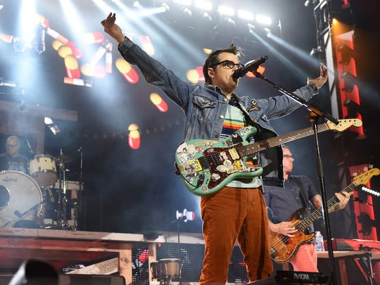 Rivers Cuomo performs with Weezer Tuesday night at Klipsch Music Center.