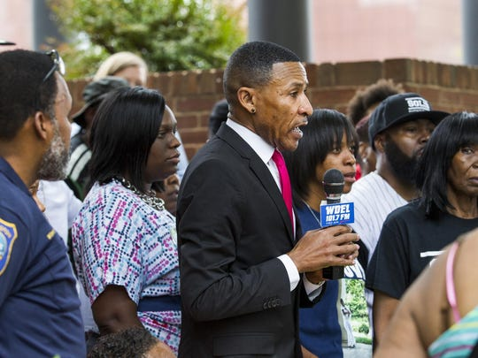"""Rev. Derrick Johnson, speaking at an anti-violence rally this month in Wilmington, said he and others involved in the Black Lives Matter movement are concerned about the """"lack of transparency'' in the investigations into the deaths of Jason Cunningham and Ronald Shoup."""