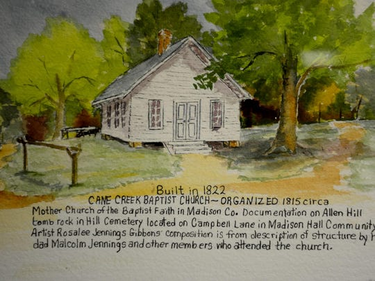 This is Gibbons depiction of Cane Creek Baptist Church, the first church built in Madison County. It was constructed in 1822, and was a white clapboard building, not a log structure, Gibbons said.