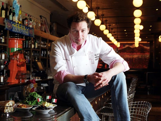 Celebrity chef Rocco DiSpirito (pictured) will join his counterparts, Maneet Chauhan, Claudette Zepeda, Aaron May and others, in sharing personal stories around food with a virtual audience May 14 in a live storytelling event benefitting Feeding America.  AP photo/Jim Cooper