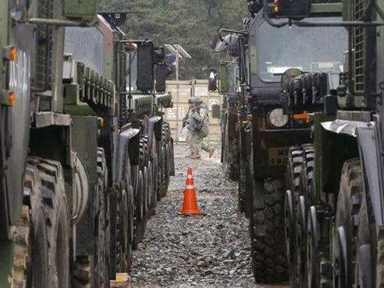 U.S. Marine soldiers patrol during the U.S.-South Korea