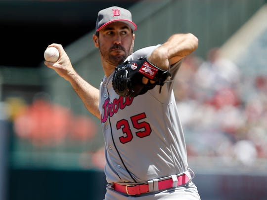 Justin Verlander throws to the plate against the Angels during the first inning of the Tigers' 4-1 loss in Anaheim, Calif., Sunday, May 14, 2017.