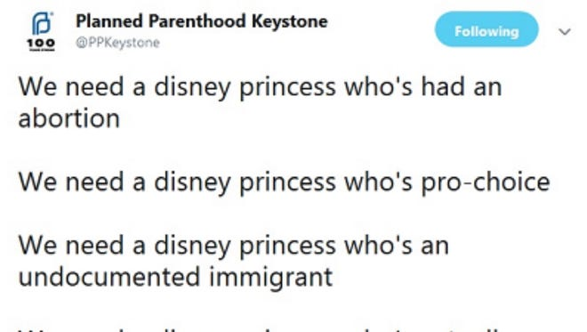 The since-deleted tweet, in a screenshot provided by Planned Parenthood