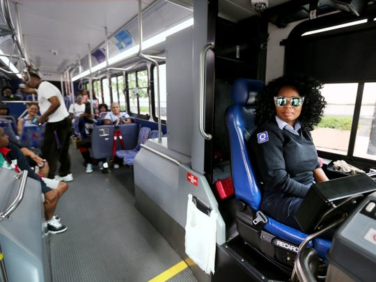 Quanna Moses, a Southwest Regional Transit Authority driver, makes a stop at Government Square on her route to Evendale. Moses has been a driver for 10 years.