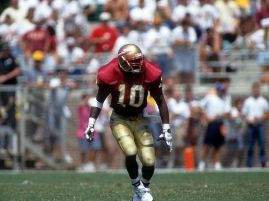 Florida State linebacker Derrick Brooks lines up during a game against the Clemson Tigers on September 11, 1993 at Doak Campbell Stadium in Tallahassee, Flroida.  The Seminoles defeated the Tigers 57-0.  (Photo by Scott Halleran/Getty Images)