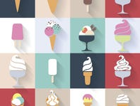 Ice cream icons set in flat style.