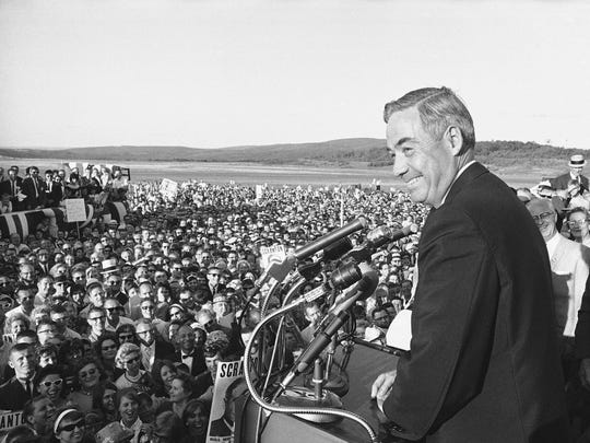 Then-Pennsylvania Gov. William Scranton speaks to hometown well-wishers at the Scranton-Wilkes-Barre Airport in 1964. Scranton was the home-state victor in the presidential primary that year, but it was the only state he won.
