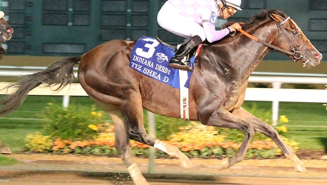 Tiz Shea D captures the Indiana Derby.