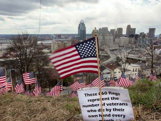 March 14, 2017: Flags, suicide, military, Cincinnati, Mt. Adams, veterans, Liz Dufour