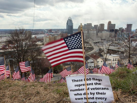 The 660 American flags on a Mount Adams hillside within view of Interstate 71 were put out March 12 representing the number of veterans across the nation who commit suicide each month.