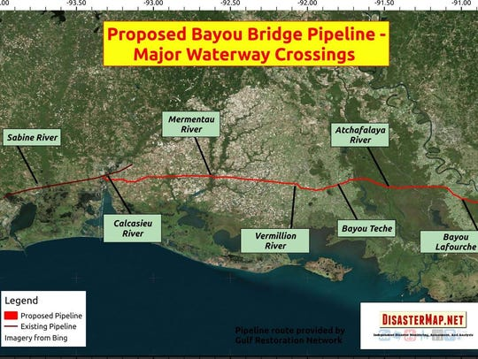 The major waterway crossings of the proposed Bayou