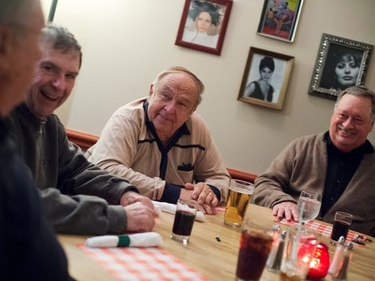 From left Ed Waltemyer of Springettsbury Township, Gene Frey of Springettsbury Township, Andy Rawicz of Manchester Township, and Richard Pugh of Manchester Township have dinner at Sam & Tony's in York.