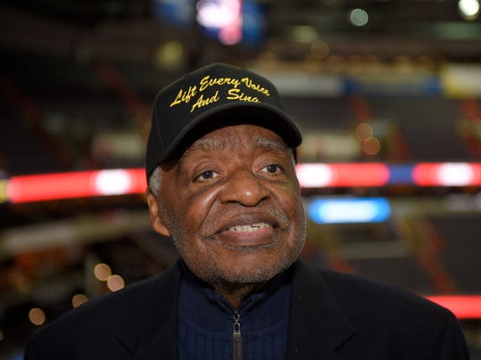 "Eugene Williams poses for a photograph before an NBA basketball game between the Washington Wizards and the Golden State Warriors, Wednesday, Feb. 28, 2018, in Washington. Several NBA teams have played what is known as the ""negro national anthem"" at games during Black History Month thanks in part to the urging of Williams, a retired Howard University professor. (AP Photo/Nick Wass)"